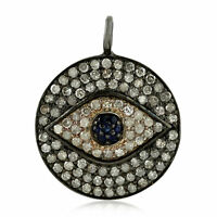 Blue Sapphire 0.85ct Pave Diamond Sterling Silver Evil Eye Disc Pendant