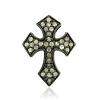 Pave Diamond 925 Sterling Silver Cross Sign Pendant Vintage Jewelry For Women