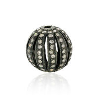 Vintage Look 1.2 ct Pave Diamond 925 Sterling Silver Cage Bead Ball Finding Gift