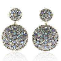 36.68ct Moonstone Diamond Dangle Earrings 14k Gold .925 Sterling Silver Jewelry