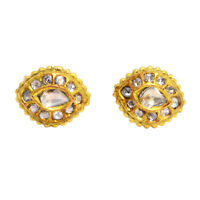 1.0 ct Diamond 18 k Yellow Gold Handmade Stud Earrings Designer Fashion Jewelry