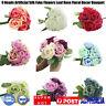 9 Heads Artificial Silk Fake Flowers Leaf Rose Wedding Floral Decor Bouquet Hot