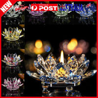 7Colors Crystal Glass Lotus Flower Candle Tea Light Holder Buddhist Candlestick