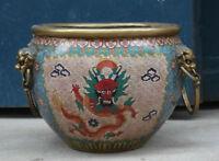 "14""Old chinese palace bronze gild Cloisonne dragon Foo dog Lion pot handle Tanks"