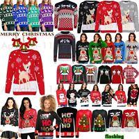 Unisex Mens Womens Ladies XMAS Novelty Christmas Light Up Vintage Jumper Sweater