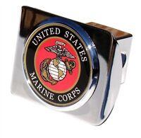 US Marine Corps Chrome Metal Hitch Cover (NEW) USMC Military Trailer Cap MVP