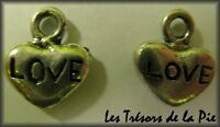 1 perle breloque COEUR LOVE - 8x10mm