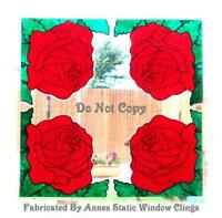 4 CORNER ROSES STAINED GLASS EFFECT DECORATION WINDOW DOOR CLING DECAL