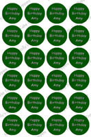YOUR OWN TEXT CUP CAKE Rice Paper Photo Toppers x 24