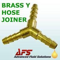 "Brass Y Piece 8mm 5/16"" BARBED 3 way Fuel Hose Joiner"