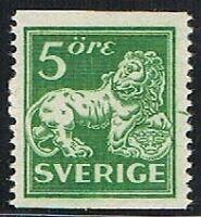 Sello 5 ore verde, Suecia 1920, Yvert 123Ea **