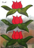 BEA'S STAINED GLASS EFFECT TULIP WINDOW CLINGS DECALS