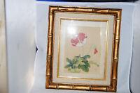 Vintage Japanese Watercolor on Silk of Flowers