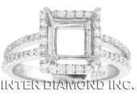 0.57 CTW ROUND DIAMOND ENGAGEMENT RING SETTING 18KT WHITE GOLD