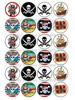 PIRATE BIRTHDAY CUP CAKE Rice Paper Photo Toppers x 24