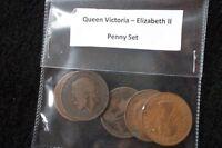 QUEEN VICTORIA - ELIZABETH II ONE PENNY 5 COIN SET.