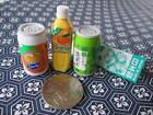 IWAKO JAPANESE MINIATURE ERASER BOTTLE CAN DRINKS SET 2 CHRISTMAS DECO GIFT