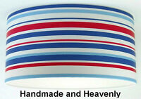 Lampshade Handmade with Blue White Red Nautical Stripe Wallpaper 45cm / 18inch
