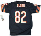 Youth sized NFL Chicago Bears Greg Olsen #82 Navy Blue Throwback Football Jersey