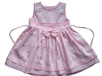 New Baby Girls Cotton Party Dress in Pink,Yellow,White From 3-6 to 12-18 Months