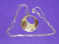 NEW STERLING SILVER RETRO DESIGN MOTHER OF PEARL PENDANT & CHAIN NECKLACE  925