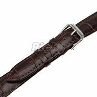 17 mm Alligator Crocodile Croco Grain Genuine Leather Watch Band Strap Brown