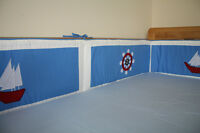 NEW blue baby cotbed/cot BUMPER (nursery, bedding) boats nautical design
