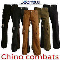 MENS CHINO TWILL COMBAT JEANS IN BLACK CHARCOAL SAND KHAKI BLUE SIZE 28-38