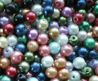 500 4MM GLASS PEARL BEADS MIXED COLOURS JEWELLERY MAKING 4MM