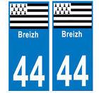 Autocollant plaque auto département Loire Atlantique 44 Breizh