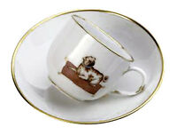 Meissen Porcelain Limited Edition Cup and Saucer Decorated With A Pug Dog 290685