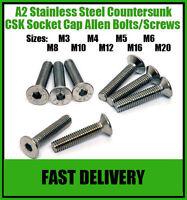 A2 Stainless Steel Countersunk Socket Screws Allen Head Screw Bolts - M6