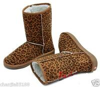 Free Ship Leopard line Women Winter Warm Mid-calf Snow Boots Shoes all Sizes p