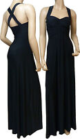 Long Evening Cross Back Maxi Dress (Black - D1010) -  UK Size 8 - 22