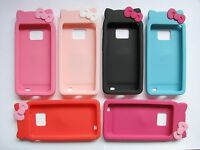 KITTY CAT BEAR RUBBER SILICONE PHONE CASE COVER FOR SAMSUNG GALAXY S2 I9100