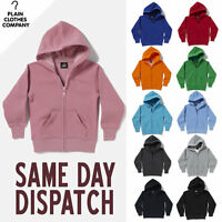 Plain Zipped Hooded Sweatshirt Boys Girls Childrens Kids Hoodie All Colours