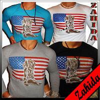 Sweat-Shirt Langarm T-Shirt Strass Weiss Amerika USA Clubwear Polo S M L XL NEU
