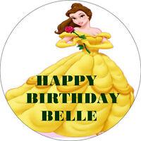 "DISNEY PRINCESS BELLE ROUND 7.5"" EDIBLE WAFER RICE PAPER BIRTHDAY CAKE TOPPER"