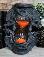 DUAL DRAGON SANDTIMER RED SAND KEEPERS OF TIME STATUE 16 MINUTES HOURGLASS