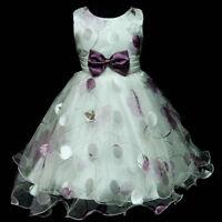 PU3211 Purple Floral Princess Fairytale Wedding Flower Girl Dress SZ 3,4,5,6,7,8