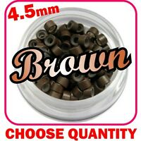 4.5mm Brown Silicone Lined Micro Rings Beads Loops Tip Hair Clips