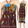 Floral Fashion Style Halter Sundress & Skirt Boho Bohemian Brown XS S M hm106b