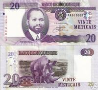 MOZAMBIQUE 20 Meticais Banknote World Money 2006 Note Africa Bill p143 Currency