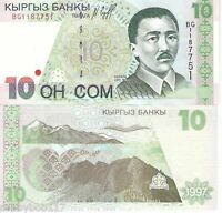 KYRGYZSTAN 10 Som Banknote World Paper Money UNC Currency Pick p-14 Bill Note