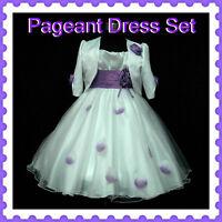 PU05 Purple White Party Flower Girls Dress + Cardigan Set SZ 2-3-4-5-6-7-8-10