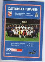 Orig.PRG     EM Qualifikation 1987      ÖSTERREICH - SPANIEN  !!      SELTEN