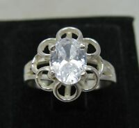STYLISH STERLING SILVER RING SOLID 925 8x6mm CZ SIZE 3.5 - 10