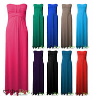 Womens Ladies Plus Size Boobtube Strapless Bandeau Knot Front Maxi Long Dress