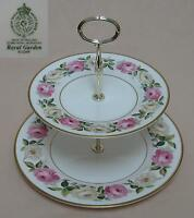 """Royal Worcester """"Royal Garden Elgar"""" TWO TIER CAKE STAND"""