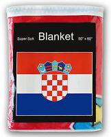 "CROATIAN FLAG FLEECE BLANKET *NEW* 50""x60"" Croatia Slavonia Dalmatia Istria L@@K"
